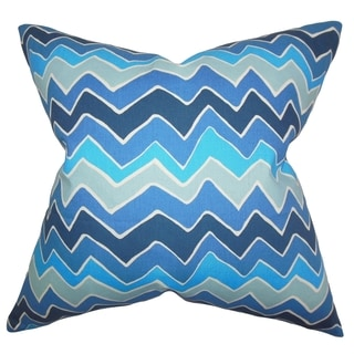 Achsah Zigzag Arctic Blue Feather Filled 18-inch Throw Pillow