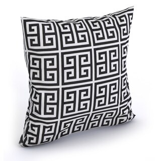 Paros Greek Key Black White Feather Filled 18-inch Throw Pillow