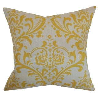 Olavarria Damask Corn Yellow Feather Filled 18-inch Throw Pillow