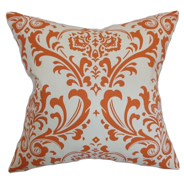 Olavarria Damask Orange Natural Feather Filled 18-inch Throw Pillow