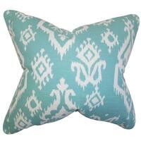 Baraka Ikat Blue Feather Filled 18-inch Throw Pillow