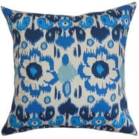 Querida Ikat Blue Natural Feather Filled 18-inch Throw Pillow