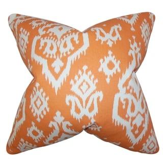 Baraka Ikat Orange Feather Filled 18-inch Throw Pillow