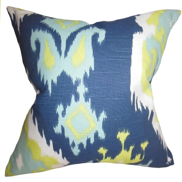 Shop Djuna Ikat Blue Green Feather Filled 18 Inch Throw