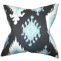 Djuna Ikat Blue Feather Filled 18-inch Throw Pillow