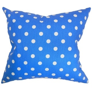 Nancy Polka Dots Paris Blue White Feather Filled 18-inch Throw Pillow