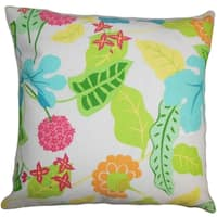 Gamila Floral Indoor/Outdoor Green 18-inch Throw Pillow