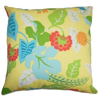Gamila Floral Indoor/Outdoor Yellow Blue 18-inch Throw Pillow