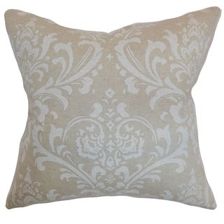Olavarria Damask Cloud Linen Feather Filled 18-inch Throw Pillow