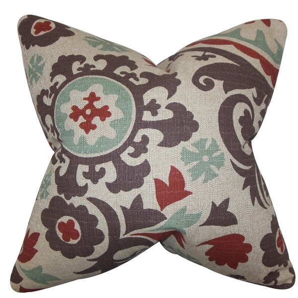 Wella Floral Gray Red Feather Filled 18 Inch Throw Pillow
