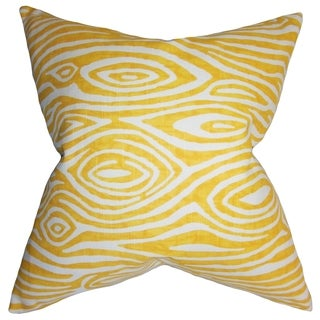 Thirza Swirls Yellow Feather Filled 18-inch Throw Pillow