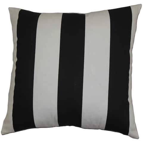 Leesburg Stripes Black White Feather Filled 18-inch Throw Pillow