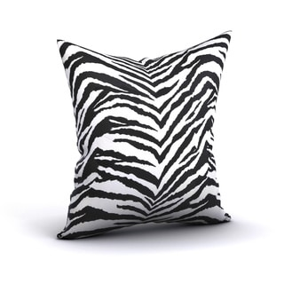 Cecania Zebra Print Black White Feather Filled 18-inch Throw Pillow