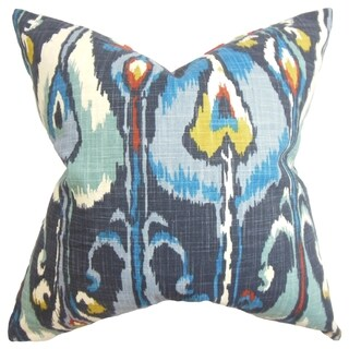 Gudrun Ikat Blue Feather Filled 18-inch Throw Pillow