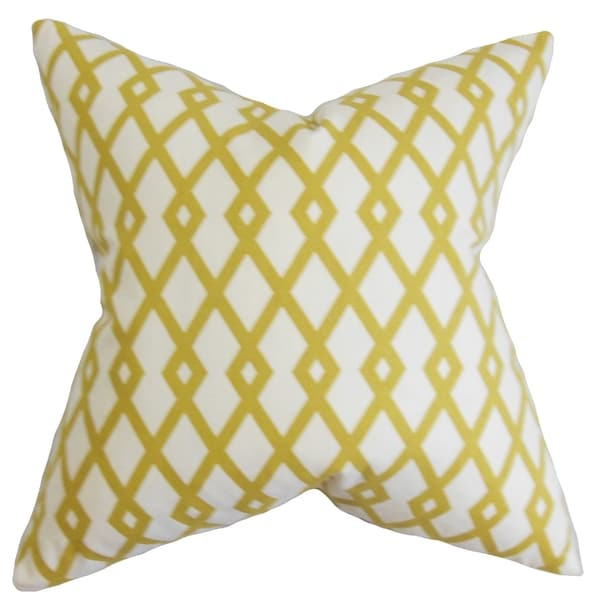 Tova Geometric Yellow Feather Filled 18-inch Throw Pillow