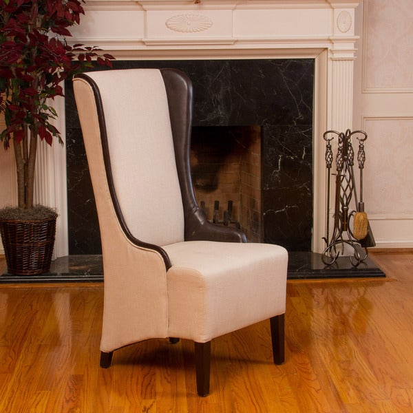 Bacall High-Back Natural Fabric Chair by Christopher Knight Home