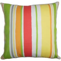 Ibbie Stripes Green Yellow Feather Filled 18-inch Throw Pillow