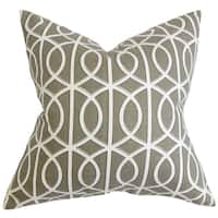 Lior Geometric Brown White Feather Filled 18-inch Throw Pillow