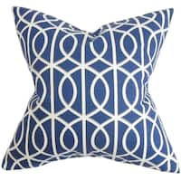 Lior Geometric Blue Feather Filled 18-inch Throw Pillow