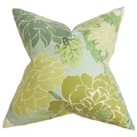 Kerensa Floral Green Feather Filled 18-inch Throw Pillow
