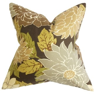 Kerensa Floral Brown Feather Filled 18-inch Throw Pillow