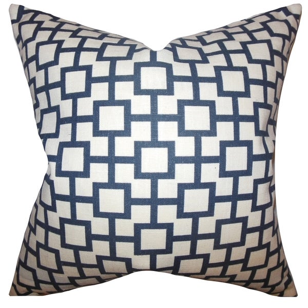 Janka Geometric Midnight Feather Filled 18-inch Throw Pillow