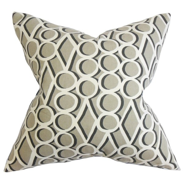 Blaise Geometric Gray Feather Filled 18-inch Throw Pillow
