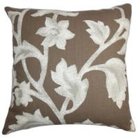 Taina Floral Brown Feather Filled 18-inch Throw Pillow
