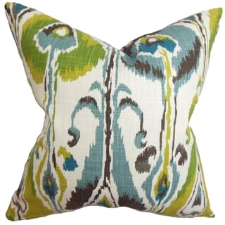 Gudrun Ikat Blue Green Feather Filled 18-inch Throw Pillow