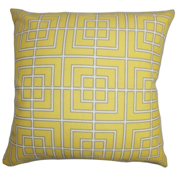 Sanaa Geometric Indoor/Outdoor Yellow 18-inch Throw Pillow