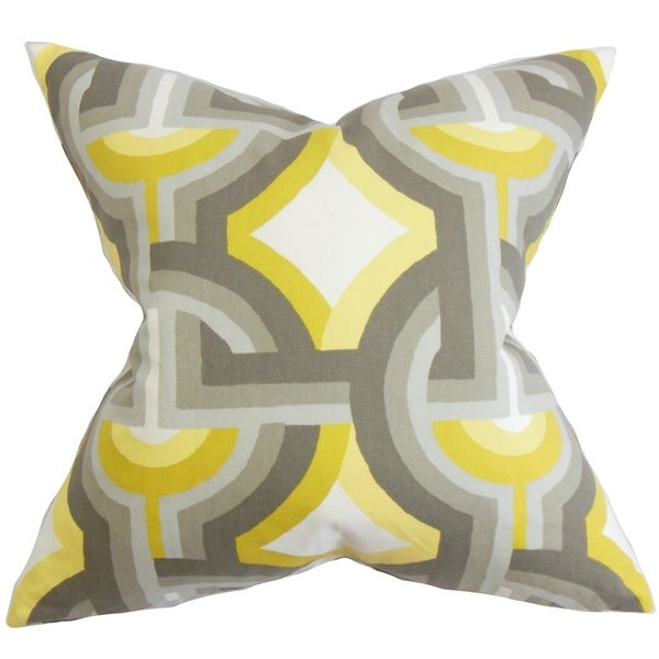 Rineke Geometric Gray Yellow Feather Filled 18 Inch Throw