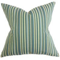 Dafydd Stripes Blue Feather Filled 18-inch Throw Pillow