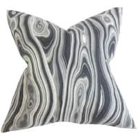 Zoia Geometric Gray Feather Filled 18-inch Throw Pillow