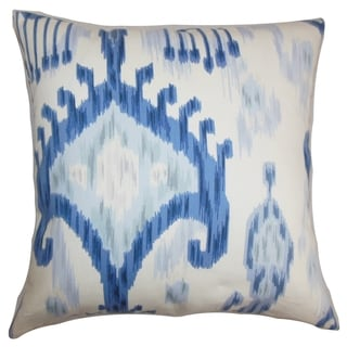 Talisha Ikat Blue White Feather Filled 18-inch Throw Pillow
