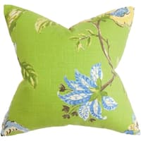 Xois Floral Green Feather Filled 18-inch Throw Pillow