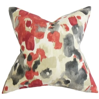 Delyne Floral Red Feather Filled 18-inch Throw Pillow