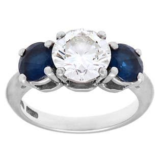 Pre-owned Tiffany & Co. Platinum 1 4/5ct TDW Diamond 3-stone Sapphire Estate Ring (H-I, VS1-VS2)|https://ak1.ostkcdn.com/images/products/9096065/P16284319.jpg?impolicy=medium