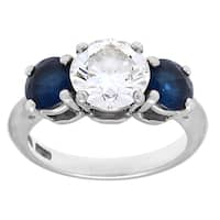 Pre-owned Tiffany & Co. Platinum 1 4/5ct TDW Diamond 3-stone Sapphire Estate Ring (H-I, VS1-VS2)