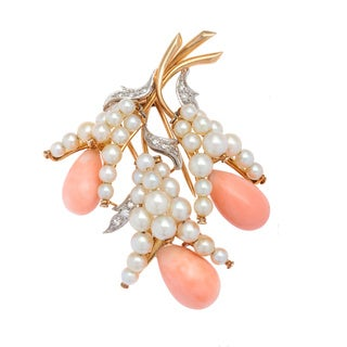 Pre-owned 18k Yellow Gold 1/4ct TDW Diamond/ Pearl and Coral Estate Brooch (I-J, SI1-SI2)