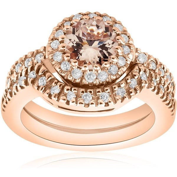 Pompeii3 14k Rose Gold 1/2ct TDW Diamond Morganite Engagement Ring Set (I-J, I2-I3)
