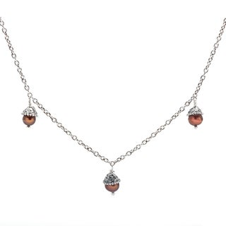 Annabelle Chocolate Pearl Trio Silver Necklace (5 mm)