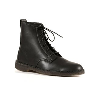 Clarks Men's Black Coated Leather Desert Mali Boots