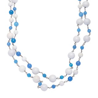 Regatta Blue/ White Agate Endless Cable Chain Necklace