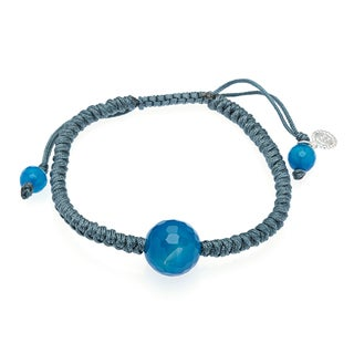 Stretch Tobago Round-cut Blue Agate Bracelet