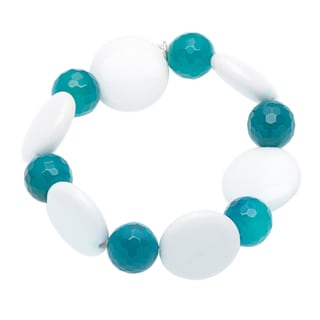 Stretch Hillary Blue and White Agate Bracelet