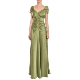 Teri Jon Women's Green Beaded Evening Gown