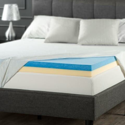 Priage by Zinus 4 inch Dual-layered Support Gel Memory Foam Mattress Topper