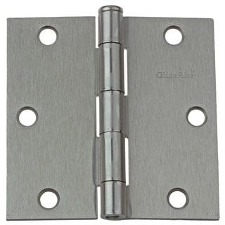 "GlideRite 3.5"" x 3.5"" Square Corner Satin Nickel Door Hinges (Pack of 12)"