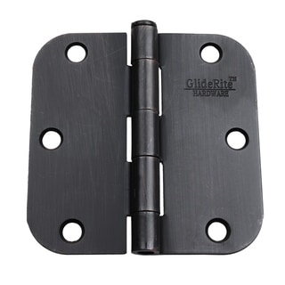 "GlideRite 3.5"" x 5/8"" Radius Oil Rubbed Bronze Door Hinges (Pack of 12)"