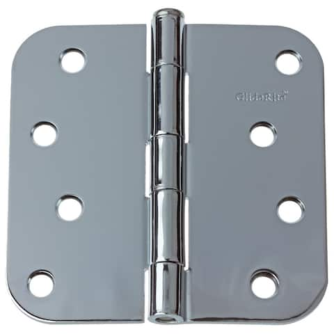 "GlideRite 4"" x 5/8"" Radius Polished Chrome Door Hinges (Pack of 12)"